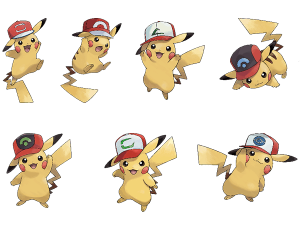 7 x Pikachu in a cap