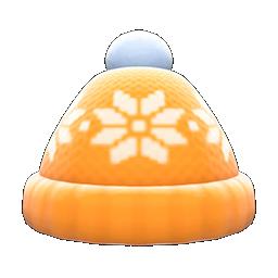 snowy knit cap