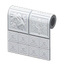 white botanical-tile wall
