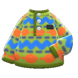 printed fleece sweater