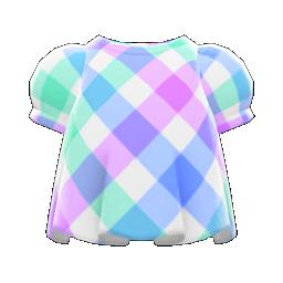 plaid puffed-sleeve shirt